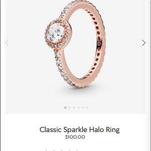 Rose gold pandora halo ring